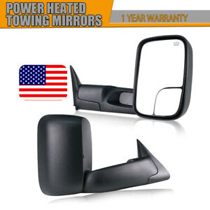 Left Right For 98 01 Dodge Ram 1500 2500 3500 Flip Up Power Heated Tow Mirrors