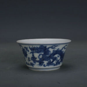 Ming Chenghua Mark China Old Porcelain Hand Painting Blue White Dragon Lotus Cup