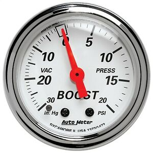 Autometer 1372 Arctic White Mechanical Boost vacuum Gauge 2 1 16 30 Hg 20 Psi