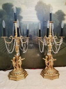 Pair Of 5 Arm Gilt Cherub Candelabra Girandoles Lamps