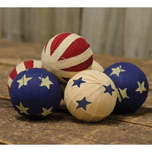 Americana Rag Balls Red Ivory Blue 2 25 Primitive Set 6 Bowl Jar Fillers