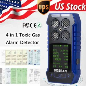 4 In1 Gas Detector Monitor 2 4 Lcd Ex Co O2 H2s Oxygen Gas Analyzer Alarm Tool