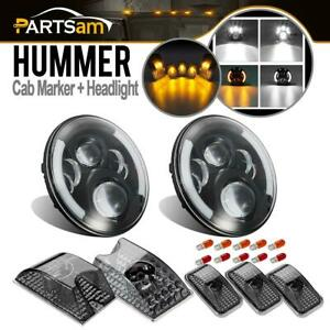 Fit For Hummer 2003 09 H2 Sut Red amber Cab Marker 7 Halo Cree Led Headlights