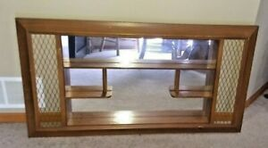 Illinois Moulding Co Mid Century Modern Wood Shadow Box Mirror Curio Shelves