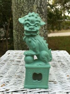 Vintage Porcelain Chinese Foo Dog White Gold Green Painted