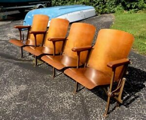 Vintage Movie Theater Seats Row Of 4 Wood Wooden Cast Iron
