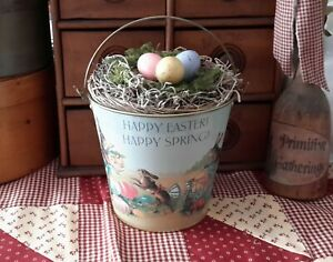 Vintage Style Easter Metal Bucket Nest Paper Mache Eggs Farmhouse Style