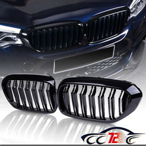 For 17 18 Bmw G30 5 Series 530i 540i M Look Glossy Black Kidney Grill Dual Slat