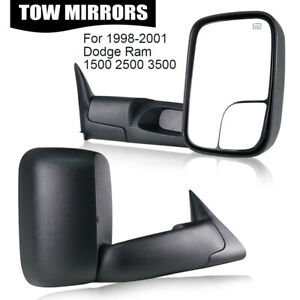 Left Right Fit 1998 2001 Dodge Ram 1500 2500 3500 Power Heated Tow Side Mirrors
