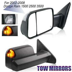 L R For 02 08 Dodge Ram 1500 03 09 2500 3500 Tow Mirror Power Heated Turn Signal