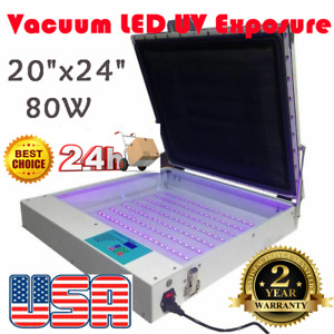 Us Stock 110v 20 X 24 Vacuum Led Uv Exposure Unit 80w Precise Screen Printing