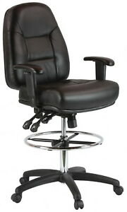 Harwick Black Leather Drafting Chair model 100kl New In Box Free Shipping