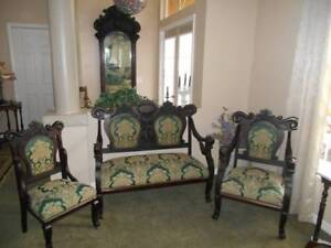 Antique Victorian Settee 3 Pc Parlor Set Ornate Mahogany Green Gold Fabric
