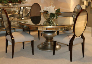 Incredible Art Deco Antiqued Glass Eglimose Round Mirrored Dining Table Only