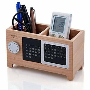 Wooden Office Desk Organizer Desktop Calendar Pencil Holder Storage Box Wood New