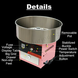 Electric Cotton Sugar Candy Machine Floss Maker Commercial Carnival Party Us