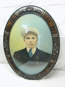 Antique Grain Painted Gesso Framed Photo Wood Grain Oval Ornate Picture Wooden
