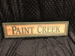 Antique Paint Creek Wooden Sign Primitive Wood Painted Framed