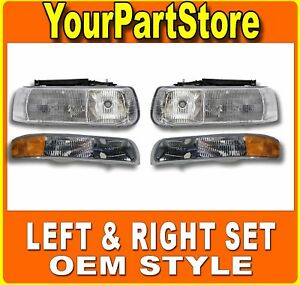 Headlight Turn Signal Park Lamp Left Right Set Pair For Chevy Silverado Truck