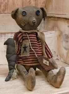 Primitive Grungy Americana Raggedy Bear With Crow Antique Vintage Style Aged