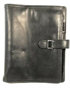 Franklin Covey Classic Unstructured Binder Planner Black Full Grain Leather