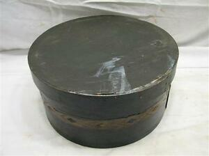 Early Banded Decorated Shaker Style Wooden Box W Lid Round Folk Art