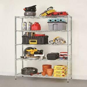 5 Shelf Heavy Duty Wire Shelving Storage Rack Silver Garage Warehouse Organizer