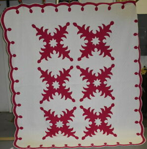 Hawaiian Style Antique Quilt Red And White Applique With Border 18526