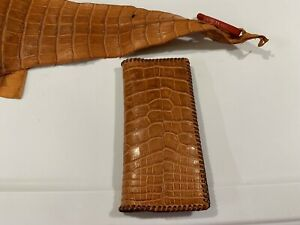 Oil Field 100 Real Alligator Leather Pipe Tally Book Cover 8 75 X 4 V