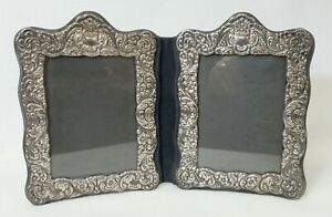 Vintage Unmarked Sterling Or Plated Repousse Double Picture Frame