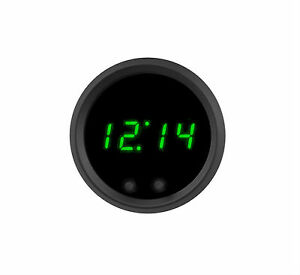 2 1 16 Universal Automotive Digital Clock Green Led Gauge Black Bezel Usa Made