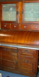 American C1900 Cylinder Roll Apple Wood Kitchen Baker Cabinet Etched Glass Doors