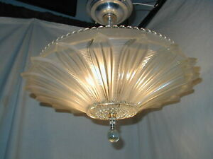 Gorgeous Antique Vtg Art Deco 30s Sunflower Glass Shade Light Fixture Chandelier