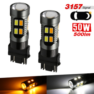 3157 Dual Color Switchback White Amber Drl Turn Signal Parking Led Light Bulbs