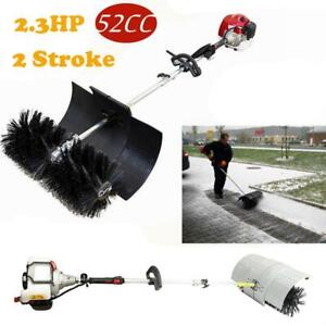 52cc Gas Powered Hand Held Floor Dust Grass Snow Broom Driveway Cleaning Sweeper