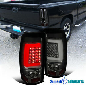 For 2003 2006 Chevy Silverado 1500 2500 3500 Led Tube Brake Tail Lights Smoke