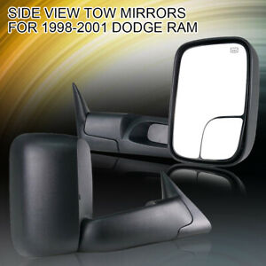 Left right Power heated Flipup Towing Mirrors 1998 2001 For Dodge Ram 1500 2500