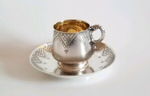 19c Russian Silver Pan Slavic Cup Saucer Snake Handle