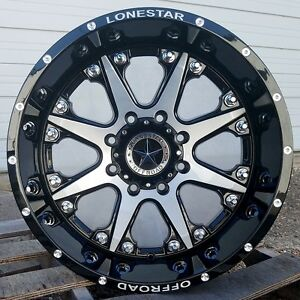 20 Black Brush Face Lonestar Bandit Wheels Chevrolet Gmc Truck 20x10 8x180 25