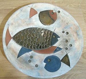 Mcm Mid Century Modern Ceramic Wall Plate With Swimming Stylized Fish