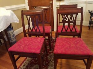 Vintage Antique Mahogany Dining Room Chairs Set Of 4