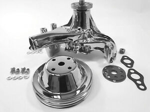 Sb Chevy Long Water Pump Sbc 283 327 350 383 400 High Volume Pulley Chrome Kit