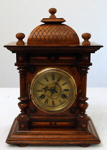 Antique 19th Century Junghans Walnut Mantle Bracket Clock With Key