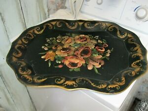 Vintage Large 27 Hand Painted Roses Tole Tray For Table