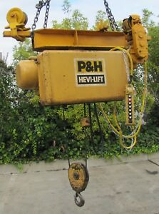 P h Harnischfeger Hevi lift 4000 Lbs Electric Wire Rope Hoist And Trolley 460v 3