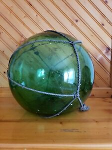 Large Antique Japanese Green Glass Fishing Float Buoy 11 5 Hand Blown Barnicle