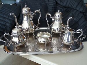 Antique Silver Service Coffee And Tea Set With Tray