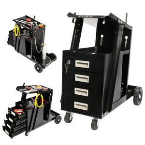 4 Drawer Welding Cart Plasma Cutter Mig Tig Arc Tank Storage With Safety Chain