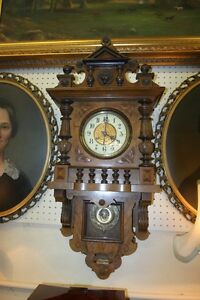 Great Carved Walnut Black Forest German Wall Clock C1890 Great Condition