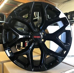 26 Gmc Sierra Wheels Black With Tires Snowflake Chevy Tahoe Yukon Suburban New